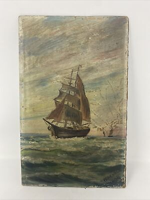 Signed Unframed Oil Painting Of Ships At Sea • 2.50£