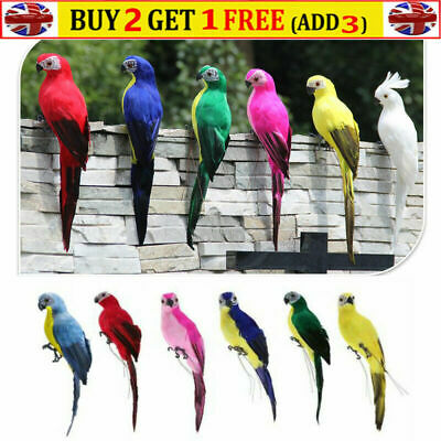 £7.99 • Buy Large Fake Artificial Parrot Feathered Realistic Garden Home Decor Ornament UK