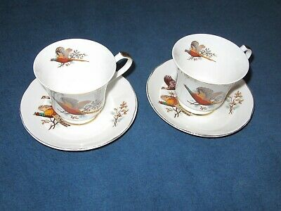 TWO Sheriden Pheasant Bone China Tea Cups And Saucers • 5.90£