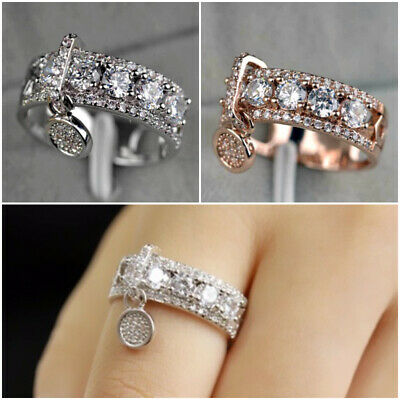 £3.19 • Buy 925 Silver,Rose Gold Rings Charm Women Wedding Cubic Zirconia Jewelry Size 5-11