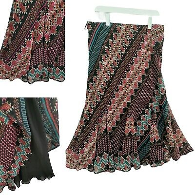Marks & Spencer Midi Skirt Ladies Size 16 Fit Flare Lined Ethnic Boho Casual • 7.95£