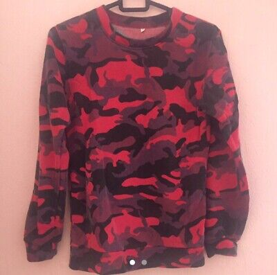 Pullover Sweatshirt Jumper Red And Burgundy Colour Camouflage Size Small • 5.75£