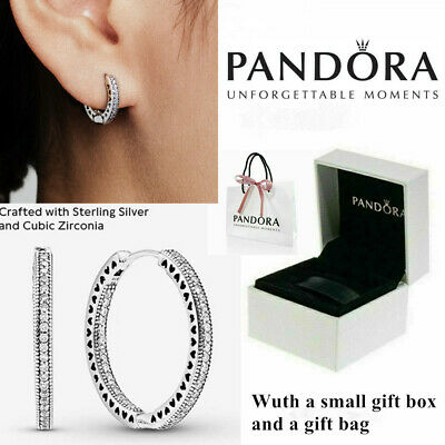 AU18.99 • Buy Genuine Pandora Hoop Earrings Stub 925 Sterling Silver Xmas Gift Box - 296317CZ