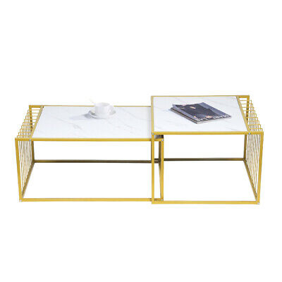 £49.99 • Buy Square Coffee Table Set Sofa Tables Nested Side Living Room Home Marble Vein UK