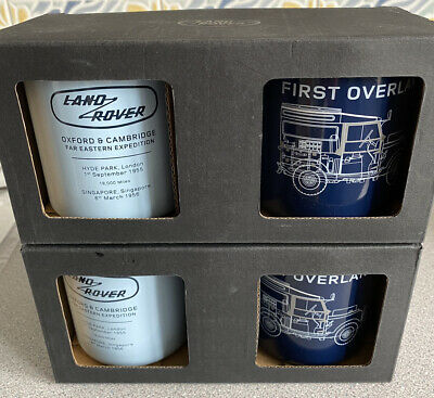 Land Rover Tin Mugs Commemorative First Overland Expedition Boxed In Pairs New 4 • 12£