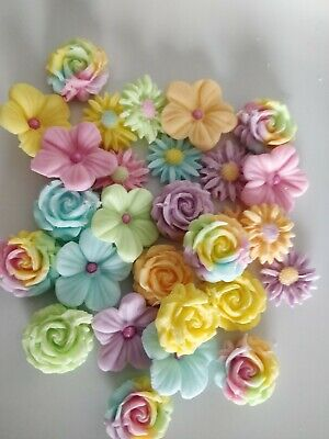 £4.80 • Buy Edible Unicorn Sugar Rainbow Colour Mixed Flowers (24  Per Set) Cake Toppers