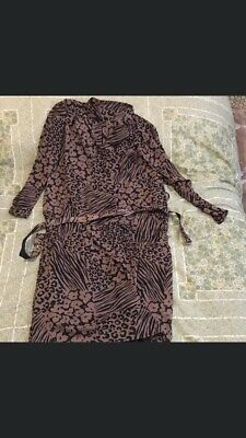 Brown Flower Power 80s Vintage Dress 16-18 Approx • 3.50£