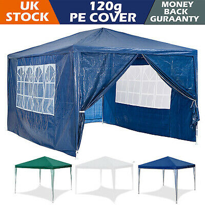 New 3 X 3m Waterproof Outdoor PE Garden Gazebo Marquee Canopy Party Camping Tent • 66.55£