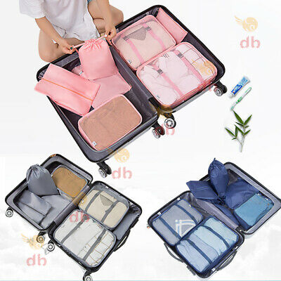 AU14.99 • Buy 7Pcs Packing Cubes Travel Pouches Luggage Organiser Clothes Suitcase Storage Bag