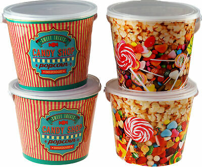 Set Of 4 Sweets / Popcorn Confectionary Buckets Lid And Carry Handle • 10.99£