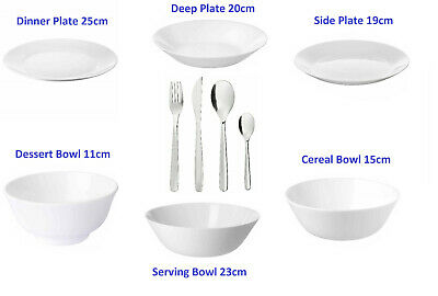 £8.85 • Buy Ikea OFTAST White Dinner Side/Deep Plates And Serving Bowls Make Your Own Set UK