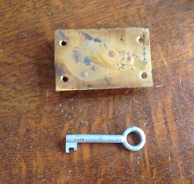 £6 • Buy 2 LEVER BRASS DRAWER/CABINET LOCK AND KEY ( New Old Stock)