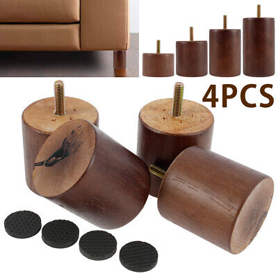 AU22.99 • Buy 4Pcs Wooden Furniture Legs + 4X Pads Turned Feet Lounge Couch Sofa Cabinet Raw