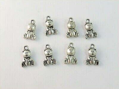 £1.99 • Buy 8 X TEDDY BEAR  DOUBLE SIDED ANTIQUE SILVER PLATED CHARMS
