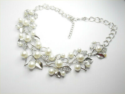 £4.99 • Buy Pretty Statement Necklace Leaf Design White Pearl Crystals Gift Wedding Bridal