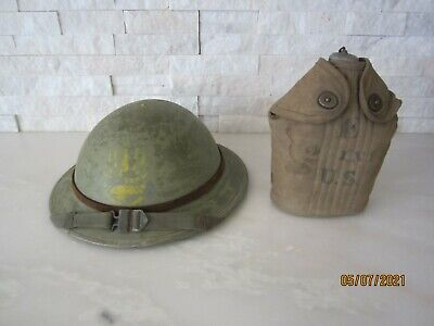 $200 • Buy Wwi Us M1917 Helmet And Unit Marked Canteen Set