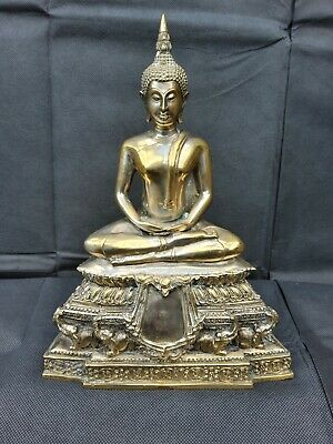 Antique Large Gold Thai Brass Meditating Buddha Statue • 30£