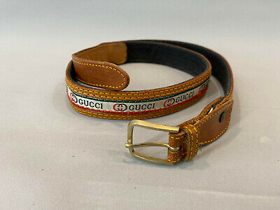 AU160.97 • Buy Vintage 70 S Gucci Belt Logo Brown