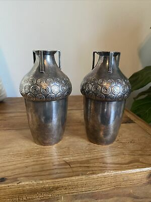 $ CDN604.59 • Buy Pair Antique C.1910 Art Nouveau Secessionist WMF Silverplated Handled Vases