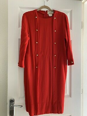 VINTAGE JEAGER RED 100% WOOL 80's MIDI LENGTH POWER DRESS. UK 14.🇬🇧 MADE. • 9.95£
