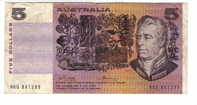 AU1.04 • Buy AUSTRALIA $5 Dollars VF Banknote (1974) P-44a Phillips-Wheeler Sign Prefix NKU
