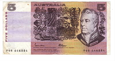 AU1.04 • Buy AUSTRALIA $5 Dollars VF Banknote (1985 ND) P-44e Johnston-Fraser Sign Prefix PQB