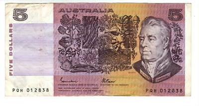 AU1.04 • Buy AUSTRALIA $5 Dollars VF Banknote (1985 ND) P-44e Johnston-Fraser Sign Prefix PQH