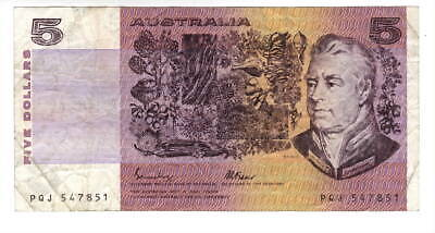AU1.04 • Buy AUSTRALIA $5 Dollars VF Banknote (1985 ND) P-44e Johnston-Fraser Sign Prefix PQJ