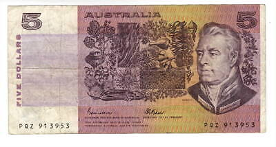 AU1.04 • Buy AUSTRALIA $5 Dollars VF Banknote (1985 ND) P-44e Johnston-Fraser Sign Prefix PQZ