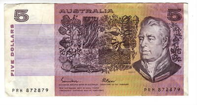 AU1.04 • Buy AUSTRALIA $5 Dollars VF+ Banknote (1985) P-44e Johnston-Fraser Sign Prefix PRH