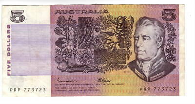 AU1.04 • Buy AUSTRALIA $5 Dollars VF+ Banknote (1985) P-44e Johnston-Fraser Sign Prefix PRP