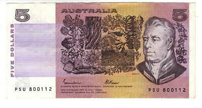 AU1.36 • Buy AUSTRALIA $5 Dollars VF+ Banknote (1985) P-44e Johnston-Fraser Sign Prefix PSU
