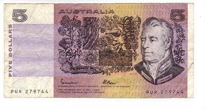AU1.04 • Buy AUSTRALIA $5 Dollars VF Banknote (1985) P-44e Johnston-Fraser Sign Prefix PUR