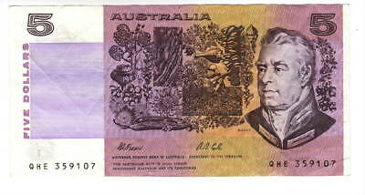 AU1.36 • Buy AUSTRALIA $5 Dollars VF+ Banknote (1991 ND) P-44g Fraser-Cole Sign Prefix QHE