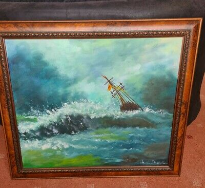 Original, Signed, Framed Oil Painting Boat At Sea On Canvas • 8£