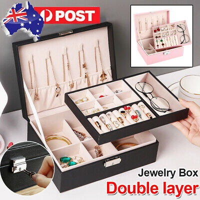 AU14.99 • Buy Jewelry Box Organizer Case Holder Storage Earring Ring Velvet Display Leather AU