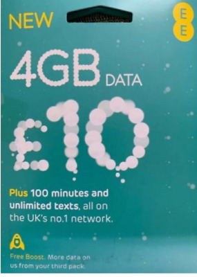 £8.50 • Buy EE Pay As You Go Sim Card With £10 Preloaded Month Bundle-get 8GB Instead Of 4GB