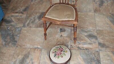 £29.95 • Buy Victorian Childs Wooden Chair And Upholstered Foot Stool