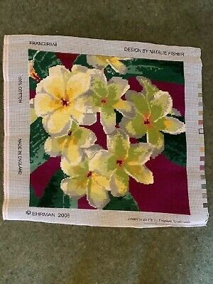 Ehrman Tapestry Completed  Frangipani Pretty Floral Design By Natalie Fisher • 19.99£
