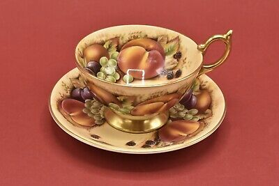 £69.99 • Buy Aynsley Orchard Gold Very Pretty Cabinet Tea Cup & Saucer - Green Back Stamp