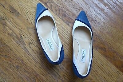 $ CDN152.18 • Buy Jimmy Choo Romy 60 Denim And White Frayed Canvas Court Pumps Size 6.5 Or 39.5