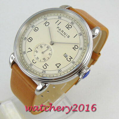 $ CDN72.54 • Buy 42mm PARNIS Automatic Men's Watch Beige Dial Leather Strap Polished Date Window