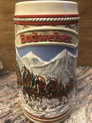 $ CDN12.08 • Buy Vtg 1985 Clydesdale Budweiser Christmas Holiday Beer Ceramic Mug Stein USA