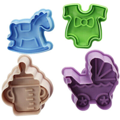 £5.03 • Buy 4PCS/Set Stamp Plunger Cutter Cookie Mold DIY Hand Press 3D Baby Clothes Shower