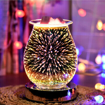 £14.99 • Buy 3D Glass Electric Firework Oil Wax Melt Burner Home Fragrance Aroma Touch Lamp