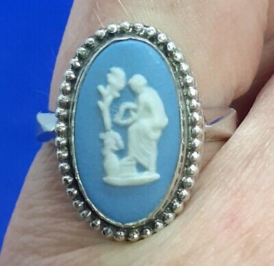 £9.99 • Buy Vintage Wedgwood Blue Jasper Cameo Silver Mounted Ring Size M