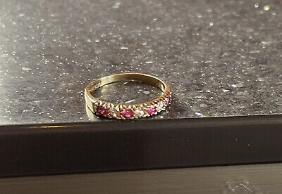 £89.50 • Buy Lovely Vintage Hallmarked 1976 9ct Gold Pink Ruby Eternity Ring Gift Sz L