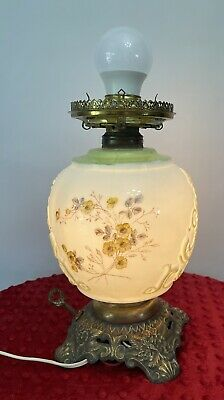 $23 • Buy Vintage White Milk Glass Lamp Floral Design Painted 10.5 X 8.5 Two Switches