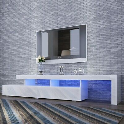 AU289.99 • Buy Modern 2400mm LED TV Cabinet Entertainment Unit Stand High Gloss Furniture B/W
