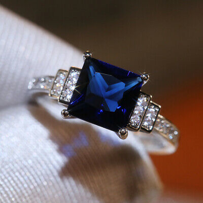 AU3.06 • Buy Gorgeous Jewelry 925 Silver Rings Blue Sapphire For Women Wedding Ring Size 6-10